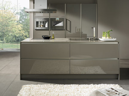 SieMatic S2 Kitchen, Here In Truffle Grey, Features Wider, Tall Cabinets  With Recessed, Vertical Grips