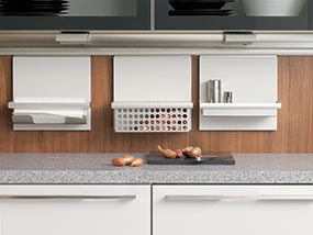 The OnWall System Utilizes Wall And Niche Areas Above The Kitchen  Countertop For The Accessory Elements Such As An Onion Basket And A Spice  Shelf